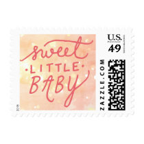 Sweet Little Baby Girl Birth Announcement Postage