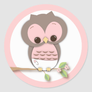 Sweet Little Baby Girl Owl on a Branch Classic Round Sticker