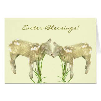 Sweet Little Baby Lambs on Yellow Easter Card
