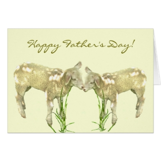 Sweet Little Baby Lambs on Yellow Fathers Day Card