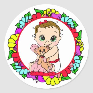Sweet Little Baby with Teddy Bear Floral Classic Round Sticker