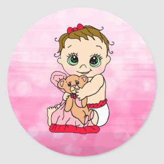 Sweet Little Baby with Teddy Bear Pink and Red Classic Round Sticker