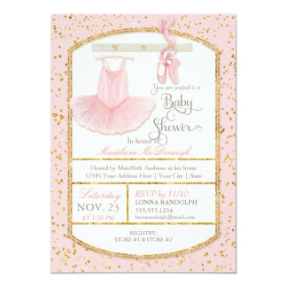 Sweet Little Ballerina Baby Girl Shower Gold Card