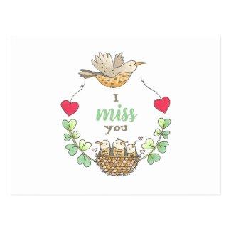 Sweet Little Birds I Miss You Teacher Postcard