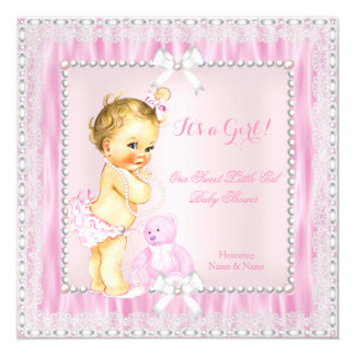 Sweet Little Blonde Girl Baby Shower Pearls Lace Card