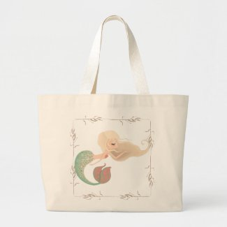Sweet Little Blonde Mermaid Seaweed Tote Bag