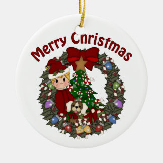 Sweet Little Boy Christmas Wreath Double-Sided Ceramic Round Christmas Ornament