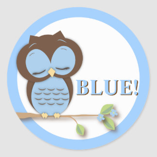 Sweet Little Boy Owl on a Branch Team BLUE! Classic Round Sticker