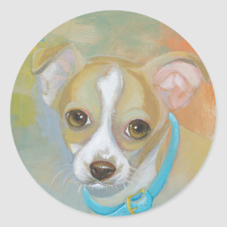 Sweet little Chihuahua puppy dog tries to blend in Classic Round Sticker