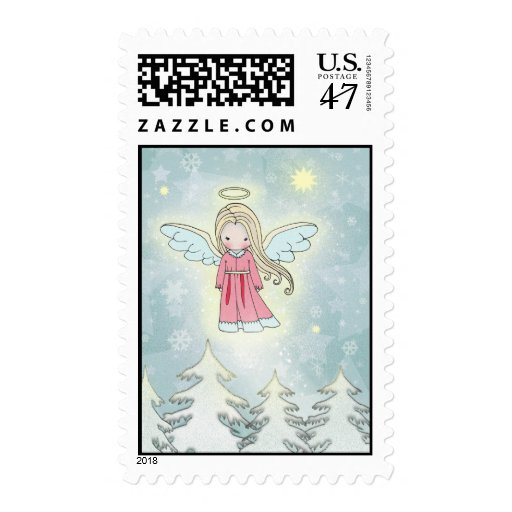 Sweet Little Christmas Angel Floating over Trees Postage Stamp
