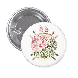 """Sweet Little Critter"" - Floral Animal Button"