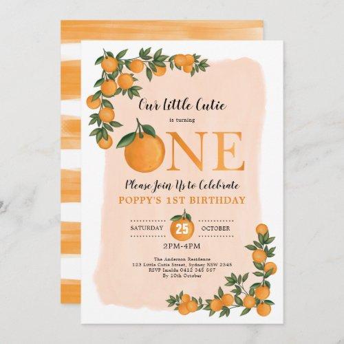 Sweet Little Cutie Orange Citrus 1st Birthday Invitation