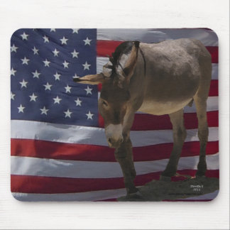 Sweet Little Donkey & USA  Flag - Love of Country Mouse Pad