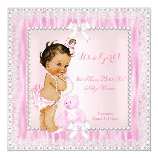 Sweet Little Girl Baby Shower Pearls Lace Brunette Card