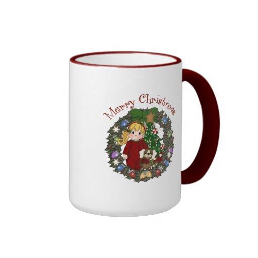 Sweet Little Girl Christmas Wreath Coffee Mugs