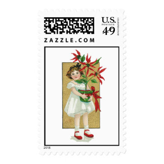 Sweet Little Girl Holding Poinsettia, Vintage Postage Stamp