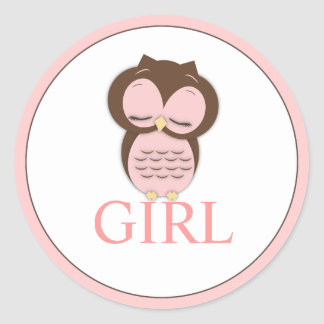 Sweet Little Girl Owl Gender Reveal Team GIRL Classic Round Sticker