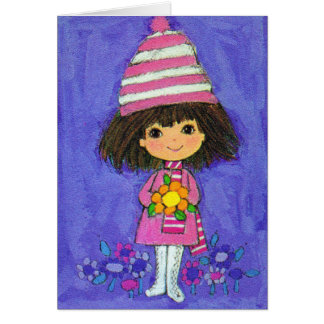 Sweet Little Girl With Daisy Birthday Card