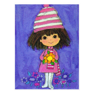 Sweet Little Girl With Daisy Postcard