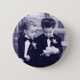 Sweet Little grooms in suit reading letter Button
