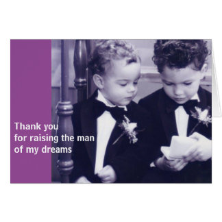 Sweet Little grooms in suit reading letter Card
