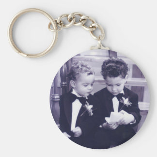 Sweet Little grooms in suit reading letter Keychain