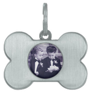 Sweet Little grooms in suit reading letter Pet Name Tag