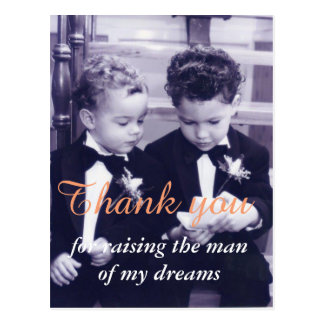 Sweet Little grooms in suit reading letter Postcard