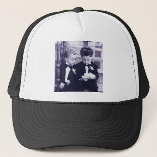 Sweet Little grooms in suit reading letter Trucker Hat