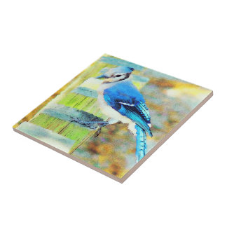Sweet Little Happy Bluebird on a Fence Post Ceramic Tile