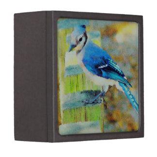 Sweet Little Happy Bluebird on a Fence Post Jewelry Box