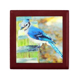 Sweet Little Happy Bluebird on a Fence Post Keepsake Box
