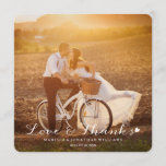 """Sweet Little Heart Wedding Thank You Flat Card<br><div class=""""desc"""">Sweet Little Heart Wedding Thank You Flat Card.  Simply replace the photo with one of your own and customize the text.  What a fun way to express your thanks,  following your special day!</div>"""