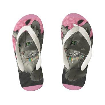 Beach Themed Sweet Little Kitty Flip-Flops Kid's Flip Flops
