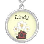 Sweet Little Ladybug Round Name Pendant Silver