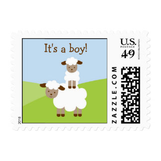 Sweet Little Lamb Baby Boy Postage Stamps