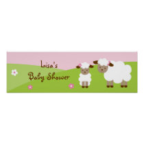 Sweet Little Lamb Baby Girl Banner Sign