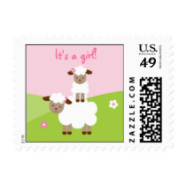 Sweet Little Lamb Baby Girl Postage Stamps