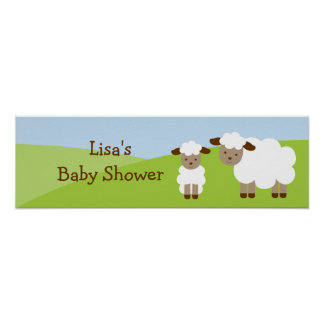 Sweet Little Lamb Baby Shower Banner Sign Posters