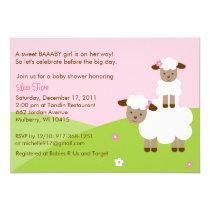 "Sweet Little Lamb Baby Shower Invitation 5"" X 7"" Invitation Card"