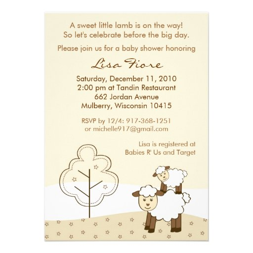 sweet little lamb baby shower invitations 5 x 7 invitation card