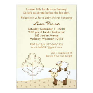 Sweet Little Lamb Baby Shower Invitations