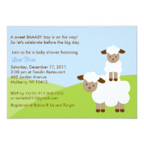 Sweet Little Lamb Boys Baby Shower Invitation