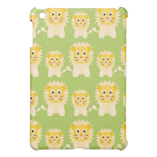 sweet little lions on green background iPad mini cover