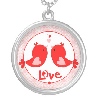 Sweet Little Love Birds Round Pendant Necklace