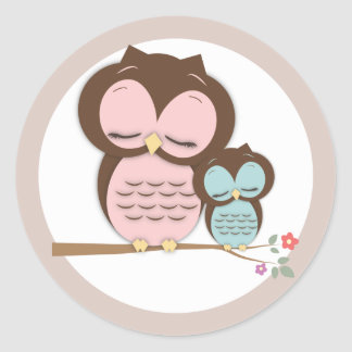 Sweet Little Mama & Baby Owl on a Branch Sticker
