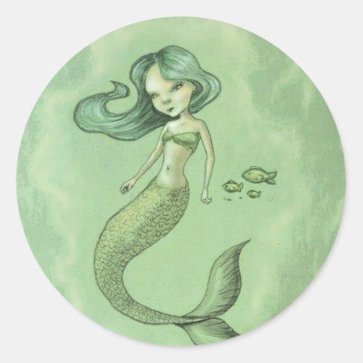 Sweet Little Mermaid Classic Round Sticker