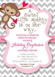 Monkey baby shower invitations zazzle sweet little monkey girl baby shower invitation filmwisefo Gallery