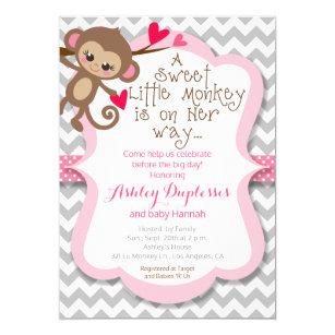 Monkey baby shower invitations zazzle sweet little monkey girl baby shower invitation filmwisefo Images