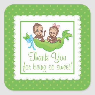 Sweet Little Monkey Twins Thank You Baby Shower Square Sticker